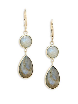 Saks Fifth Avenue Earrings 14K YELLOW GOLD ROUND AND LABRADORITE PEAR DROP EARRINGS