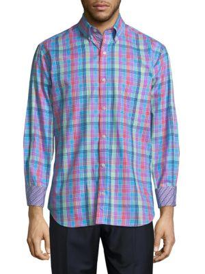 Tailorbyrd  Multicolor Plaid Cotton Button-Down Shirt