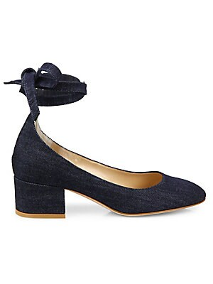 Denim Ankle-Wrap Block Heel Pumps
