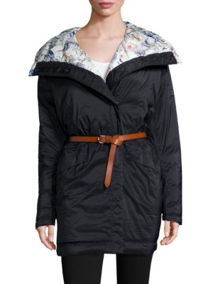 Embla Belted Down Wrap Coat in Navy
