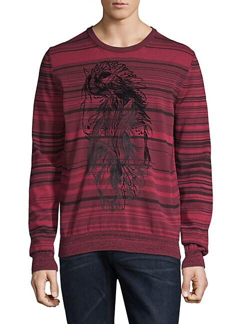 Graphic Striped Cotton Sweater