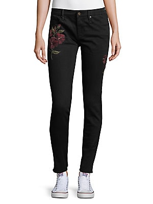 Marilyn Skinny Floral Embroidered Jeans