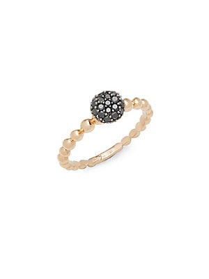 MOLTON BLACK DIAMOND AND 18K ROSE GOLD STACKED RING
