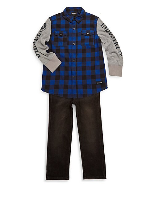 Little Boy's Two Piece Buffalo Plaid & Jeans Set