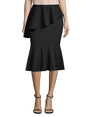 Ruffle-Trim Midi Skirt