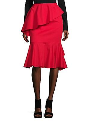 Ruffle Peplum Midi Skirt