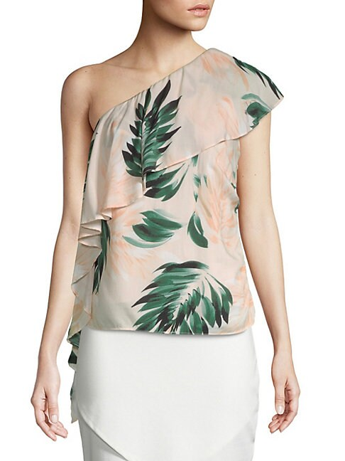 Scripted PALM-PRINT ONE SHOULDER RUFFLE TOP
