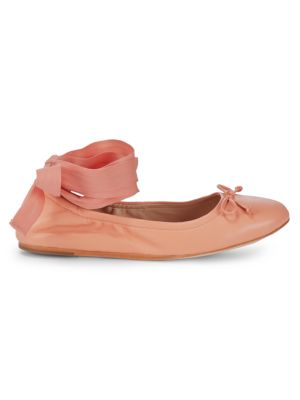 Leather Ankle-Wrap Ballet Flats in Salmon