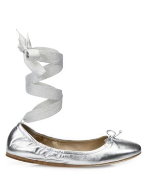 Metallic Leather Ankle-Wrap Ballet Flats in Silver