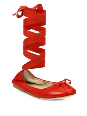 Leather Ankle-Wrap Ballet Flats in Red
