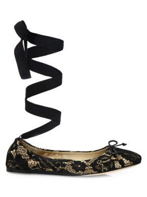 Lace Ankle-Wrap Ballet Flats