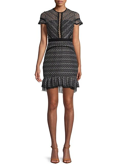 FEW MODA | Frilled Lace Sheath Dress | Goxip