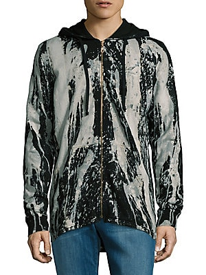 Blotched Cotton Hooded Jacket