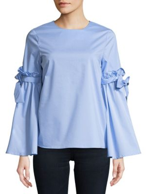 CUPIO Ruffled Tie Top in Blue Feather