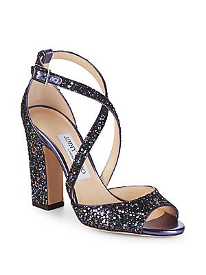 1259263fb009 Jimmy Choo - Carrie Glitter Block Heels - saksoff5th.com