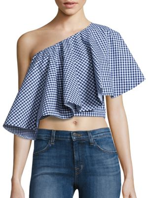 Yakura Flouncy Gingham One Shoulder Cropped Top in Blue White