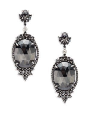 Bavna  Black Spinel and Sterling Silver Drop Earrings