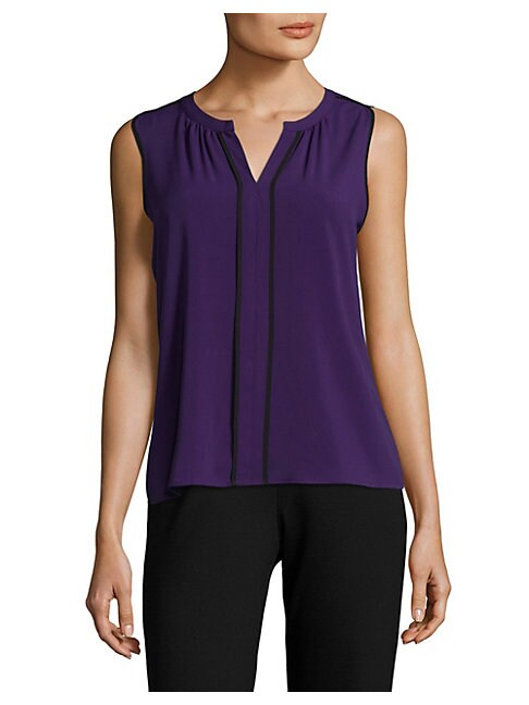 Piped Split Neck Blouse