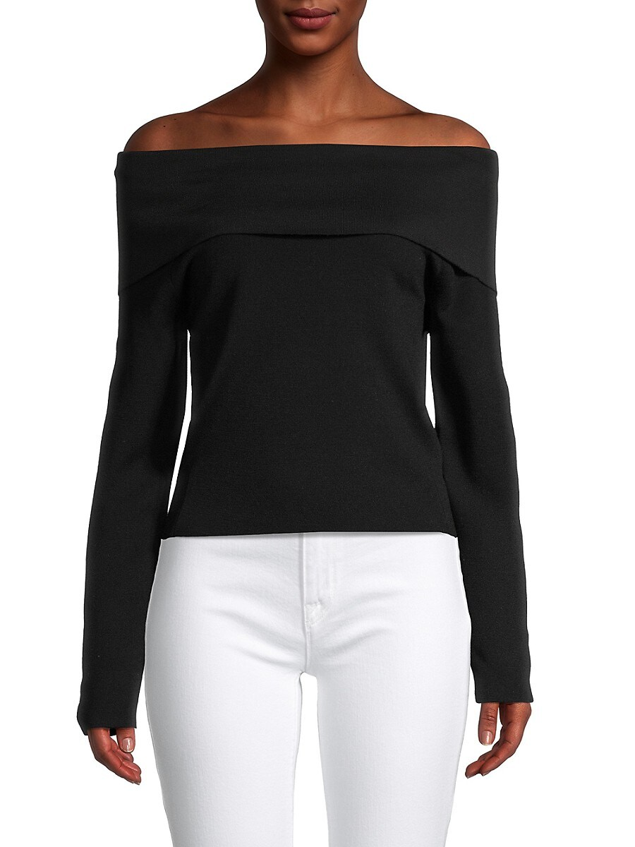 Women's Knit Foldover Off-The-Shoulder Sweater