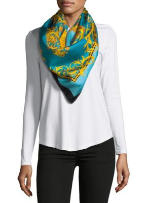 Saks Fifth Avenue  INTRICATE PRINT SILK FOULARD