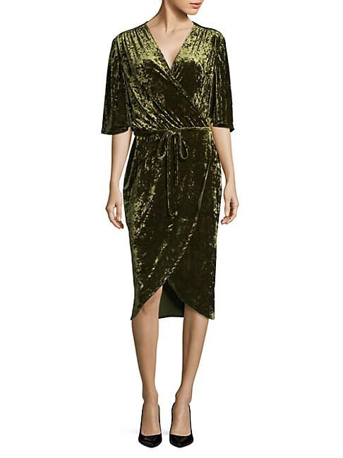 Flutter Sleeve Velvet Dress