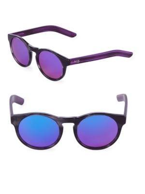 Aqs Mirrored 49MM Round Sunglasses