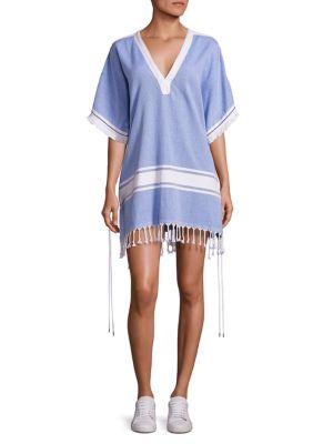KOZA Melissa Textured Cotton Caftan in Blue