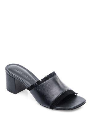 BERNARDO Blossom Block Heel Slides in Black