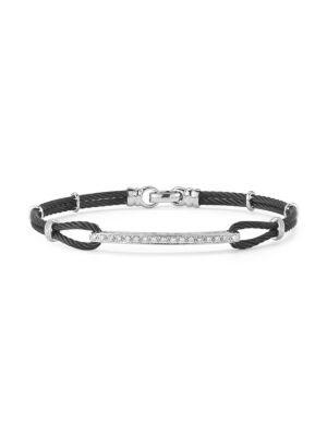 Alor Noir Diamond, Stainless Steel and 18K White Gold Bracelet