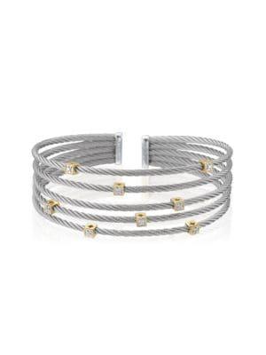 Alor Classique Diamond, Stainless Steel and 18K Gold Bracelet