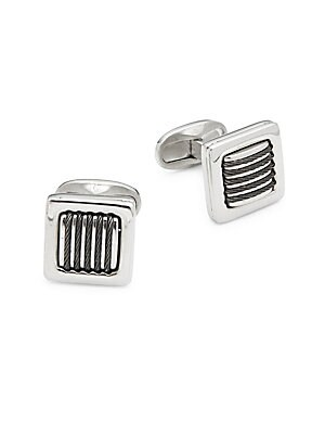 Alor  TWO-TONED CABLE STAINLESS STEEL CUFF LINKS