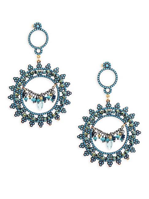AZAARA | Blue Topaz, Blue Quartz and Sterling Silver Drop Earrings | Goxip