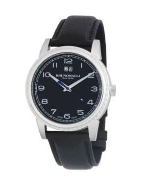 Bruno Magli Stainless Steel Leather-Strap Watch