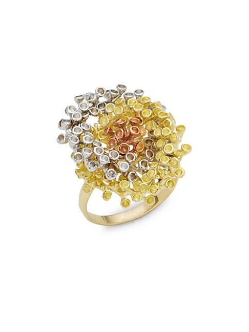 Diamond, Tourmaline and 18K White, Yellow and Rose Gold Coral Reef Ring, 0.25 TCW