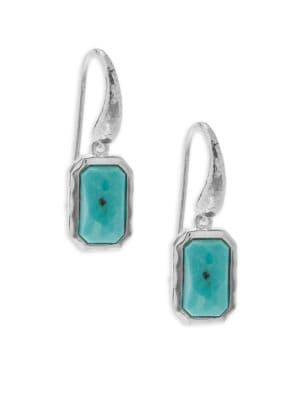 Ippolita  ROCK CANDY TURQUOISE AND STERLING SILVER RECTANGULAR MINI-DROP EARRINGS
