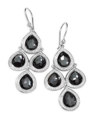 Ippolita  Diamond, Hematite and Sterling Silver Doublet Drop Earrings