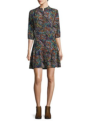 Belted Silk Fit-&-Flare Dress