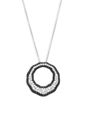 Roberto Coin  Black and White Diamond, Ruby and 18K White Gold Scalare Pendant Necklace