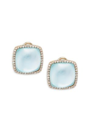 Roberto Coin  Mother-Of-Pearl, Diamond, Blue Topaz and 18K Gold Square Stud Earrings