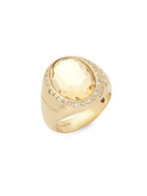 Roberto Coin  Diamond, Crystal and 18K Gold Satin Doublet Ring