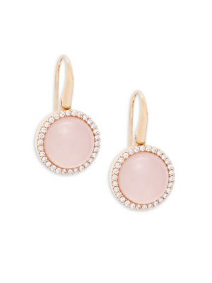 Roberto Coin  DIAMOND, PINK QUARTZ, MOTHER-OF-PEARL, RUBY AND 18K ROSE GOLD DROP EARRINGS