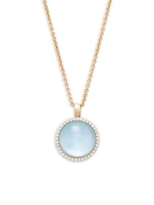 Roberto Coin  Round Blue Topaz, Diamond and 18K Rose Gold Pendant Necklace
