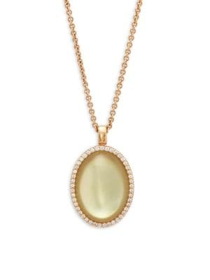 Roberto Coin Quartz & Diamond Yellow Gold Pendant Necklace