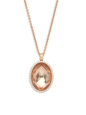 Roberto Coin  Diamond, Crystal and 18K Gold Oval Pendant Necklace