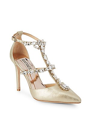 5390b496728 Badgley Mischka - Valentine Embellished Leather Ankle-Strap Sandals ...
