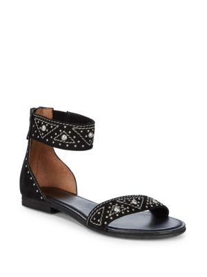 Carson Deco Zip Leather Ankle-Strap Sandals in Black