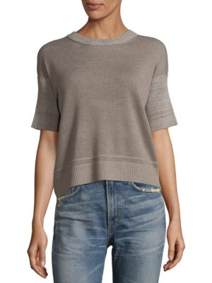 Inhabit DROPPED SHOULDER CASHMERE AND LINEN TEE