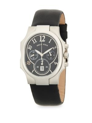 PHILIP STEIN Stainless Steel Classic Leather-Strap Watch in Black