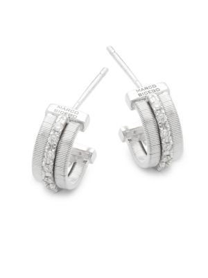 Marco Bicego  Goa Diamond and 18K White Gold Engraved Earrings