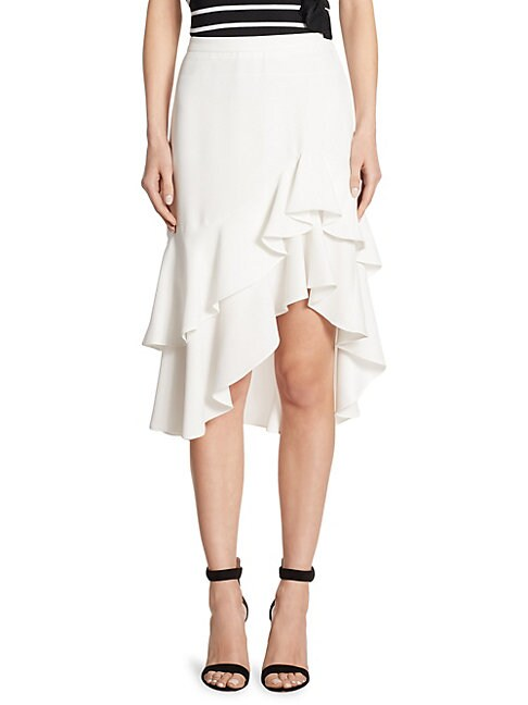 ALI RO | Ruffled Tiered Midi Skirt | Goxip